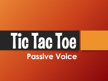 Spanish Passive Voice Tic Tac Toe Partner Game