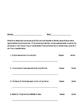 Passive Voice Worksheets