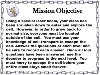 Passive and Active Cell Transport Activity: Escape Room - Science