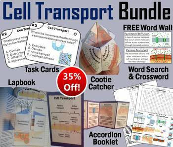 Passive and Active Cell Transport Task Cards and Activities Bundle