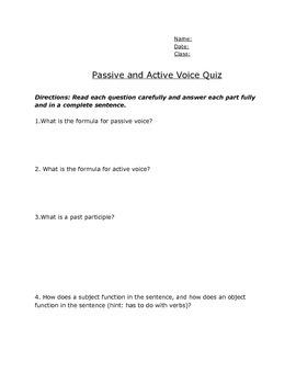 Active Passive Quiz Teaching Resources | Teachers Pay Teachers