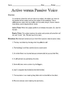 Passive versus Active Voice