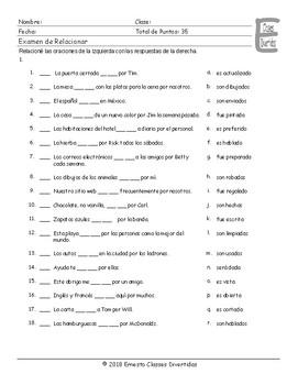 Passive versus Active Voice Spanish Matching Exam