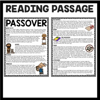 Passover Reading Comprehension Worksheet Judaism and Jewish Holidays