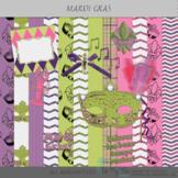 Mardi Gras Papers and Clip Art Digital Scrapbooking Supplies