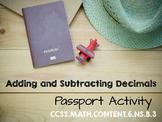 Passport Activity - Adding and Subtracting Decimals 6.NS.B.3