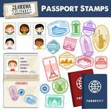 Passport Booklet & Stamps Growing Bundle Landmark Stamps Clipart Travel stamps