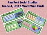 Passport Social Studies: Grade 4, Unit 1 Vocabulary Word Wall Cards