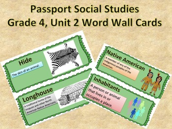 Passport Social Studies Grade 4: Unit 2 Word Wall Cards