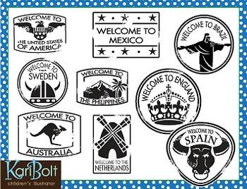 Passport Stamps Clip Art