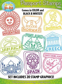 Passport Stamps Clipart Set 2 {Zip-A-Dee-Doo-Dah Designs}