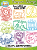 Passport Stamps Clipart Set 2 {Zip-A-Dee-Doo-Dah Designs}