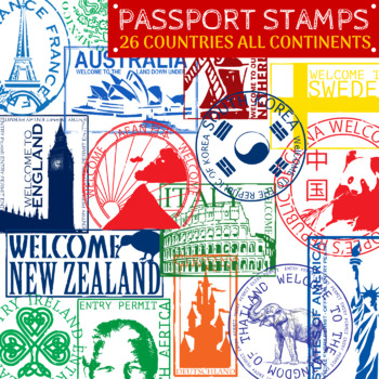 Passport Stamps - Countries Around the World Clip Art - 26 ...