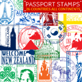 Passport Stamps - Countries Around the World Clip Art - 26 Clipart