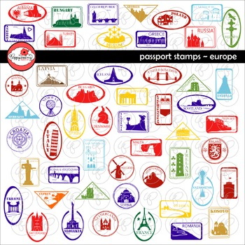 Passport Stamps Europe Clipart by Poppydreamz