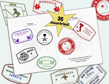 Passport Stamps and Passport Booklet for Around the World Unit, Geography Fair