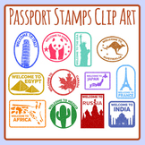 Passport Stamps in Color or Black and White Clip Art Set Commercial Use