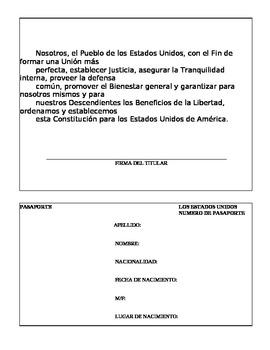 Passport Template in Spanish