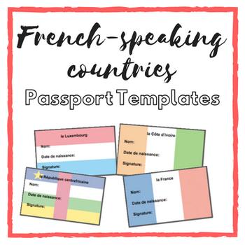 Passport Templates: French-Speaking Countries by La Senora Sara | TpT