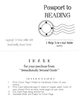Passport to Reading- Reading Log
