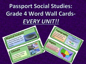 Passport to Social Studies: Grade 4 EVERY UNIT Vocabulary Word Wall Card Bundle