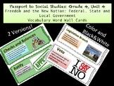 Passport to Social Studies: Grade 4 - Unit 4 Vocabulary Word Wall Cards