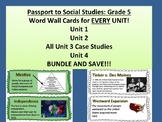 Passport to Social Studies: Grade 5 EVERY UNIT Vocabulary Word Wall Card Bundle