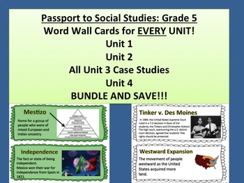 Passport to Social Studies: Grade 5 EVERY UNIT Vocabulary Word Wall Card Bundle