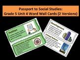 Passport to Social Studies: Grade 5 Unit 4 Word Wall Cards