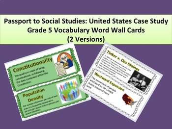 Passport to Social Studies: U.S. Case Study Grade 5 Word Wall Cards (2 Versions)