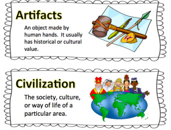 Passport to Social Studies: Word Wall Cards Grade 5, Unit 1 (2  versions)