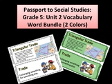 Passport to Social Studies: Word Wall Cards Grade 5 Unit 2 (Two Versions)