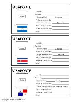 Passports and Geography of Central America Spanish Activity