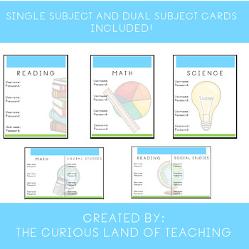 Class Cards: Username and Password Cards