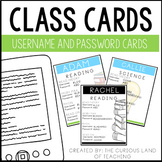 Editable Class Cards: Username and Password Login Cards