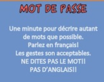 Password Game in French: Family Vocabulary (Basic and Complex)