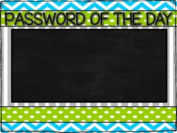 Password of the Day chart FREEBIE