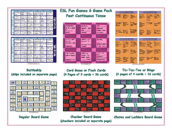 Past Continuous Tense 6 Board Game Bundle