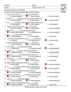 Past Continuous Tense Spanish Multiple Choice Exam