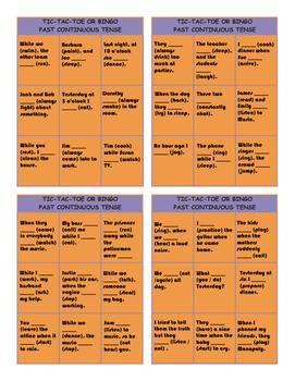 Past Continuous Tense Tic-Tac-Toe or Bingo