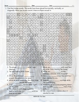 Past Continuous Tense Word Search Worksheet