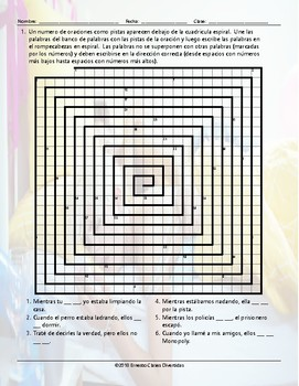 Past Continuous Tense Word Spiral Spanish Worksheet