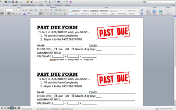 Past Due Form for Late or Absent Work Submission