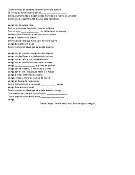 Past Participle Cloze Activity (Ana Tijoux song)
