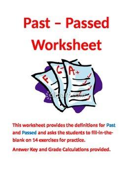 Past - Passed Worksheet for Grades 6-9