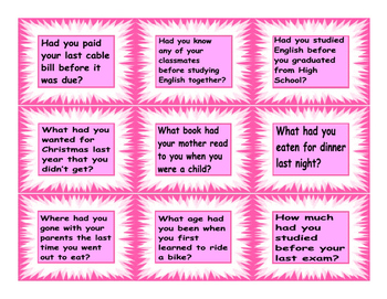 Past Perfect Questions Cards
