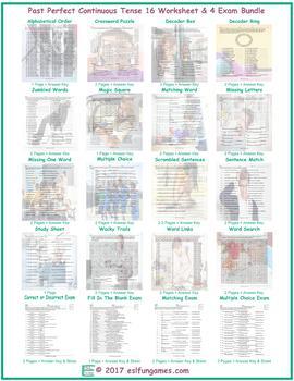 Past Perfect Continuous Tense 16 Worksheet- 4 Exam Bundle