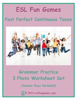 Past Perfect Continuous Tense 3 Photo Worksheet Set