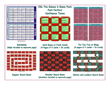 Past Perfect Continuous Tense 6 Board Game Bundle