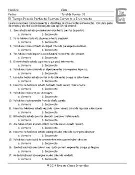 Past Perfect Continuous Tense Spanish Correct-Incorrect Exam